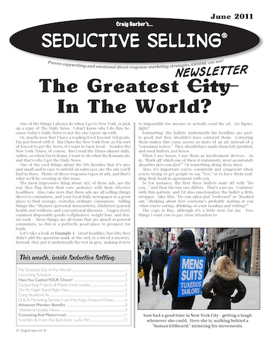 This month's cover of Seductive Selling